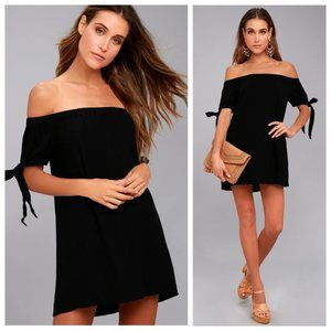 Lulu's Al Fresco Evenings Black Off Shoulder Dress